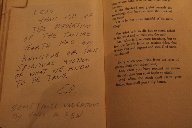 Elvis Presley's handwritten notes inside 'The Prophet'