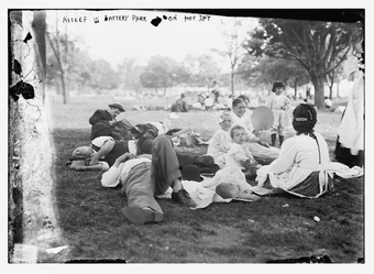 1920. A Sleep in Battery Park On A Hot Day (Library of Congress)