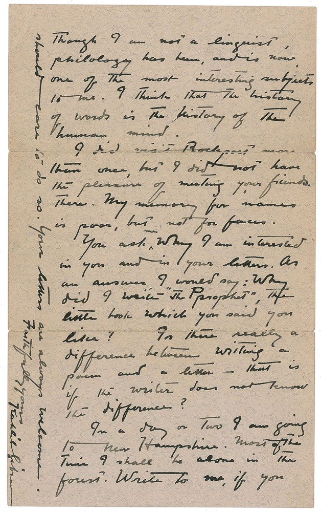 Letter of Kahlil Gibran [On Philology] (Unknown Recipients, Undated) - Image: Professional Sports Authenticator (PSA)