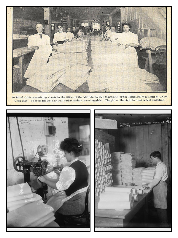 Ziegler Magazine For Blind Girls New York 1915 - Matilda Ziegler workers Binding & Mailing