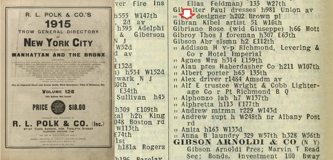 """Kibel"" Gibran in New York City Directory 1915"