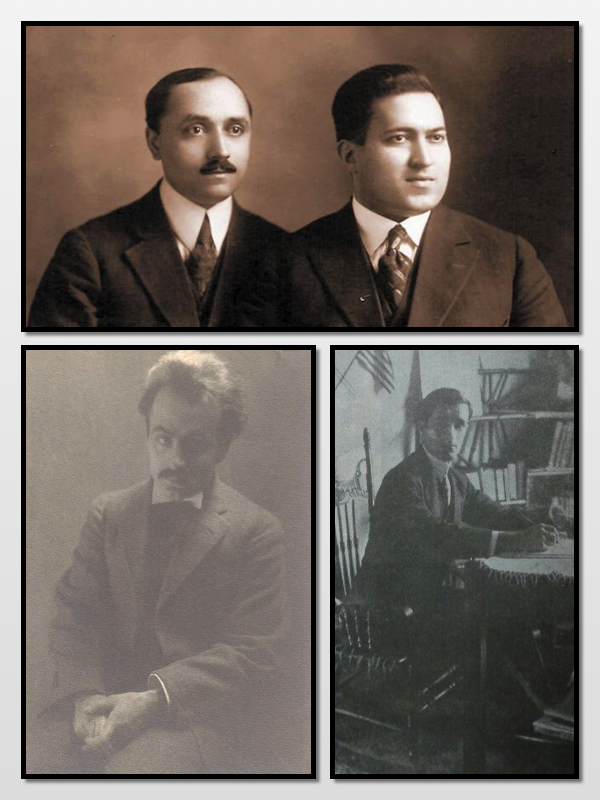 Abdul-Maseeh Haddad and Naseeb Arida (Top) Kahlil Gibran (Bottom Left) Mikhail Naimy (Bottom Right)