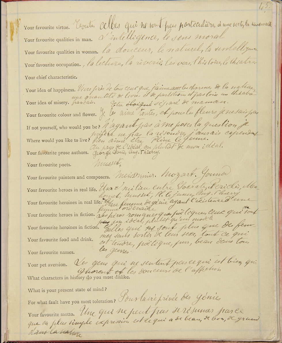 Example of an original Proust Questionaire  c.1890