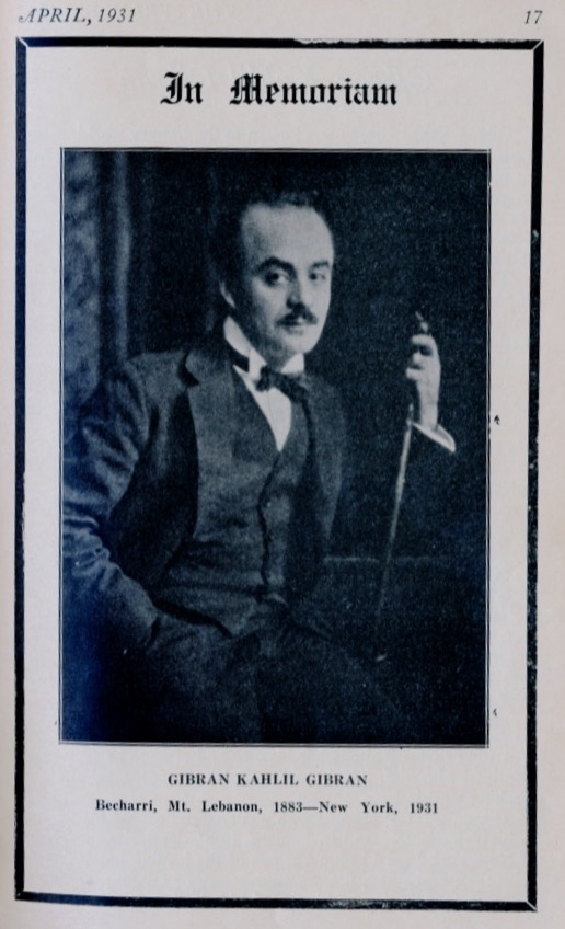 Gibran's Message to Young Americans of Syrian Origin (reprinted from the first issue of Syrian World), The Syrian World, 5, 8, April 1931, pp. 44–45