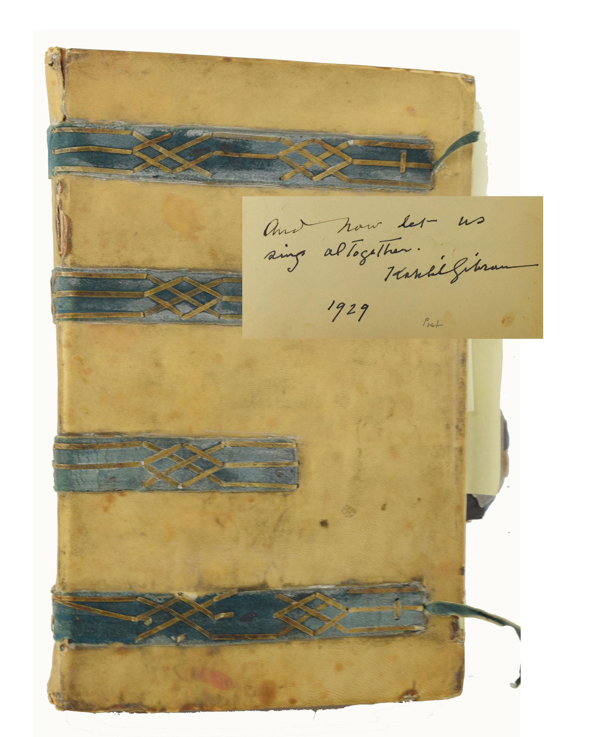 K. Gibran, Unpublished Handwritten Fragment, Signed Autograph Album, 1929.