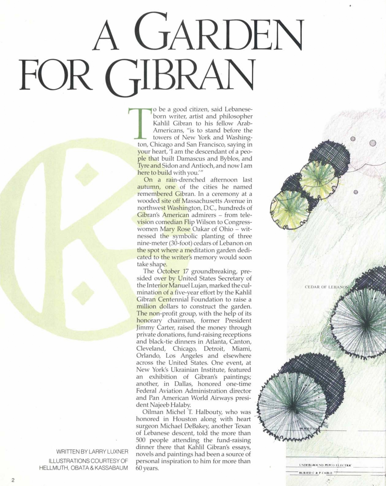 Larry Luxner, A Garden for Gibran, Aramco World Magazine, March-April 1990, pp. 2-5.