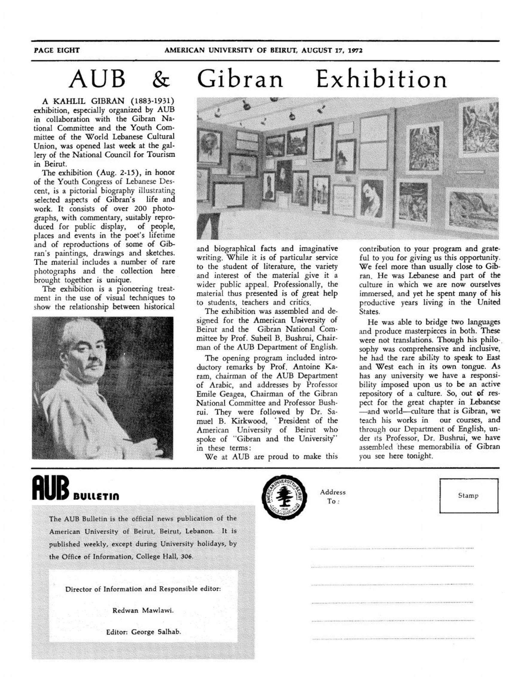 """AUB & Gibran Exhibition"", American University of Beirut, Aug 17, 1972, p. 8."