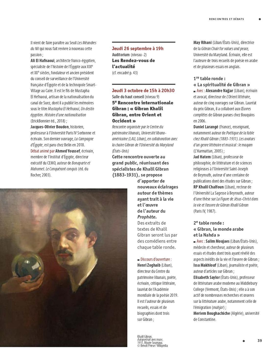 5e Rencontre internationale Gibran: «Gibran Khalil Gibran, entre Orient et Occident», L'Actualité: Le Programme de l'Institut du Monde Arabe de l'Ima, 9 Oct 2019-19 Jan 2020, p. 39.