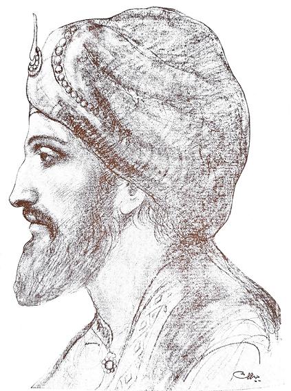 al-Banafsajah al-Tamuhah [Short Story], al-Mu`tamad Ibn `Abbad [Drawing], al-Funun 3, no. 1 (August 1917)