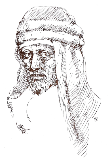 Birkat al-Dam [Drawing], Abu al-Tayyib al-Mutanabbi [Drawing], al-Funun 1, no. 7 (October 1913)