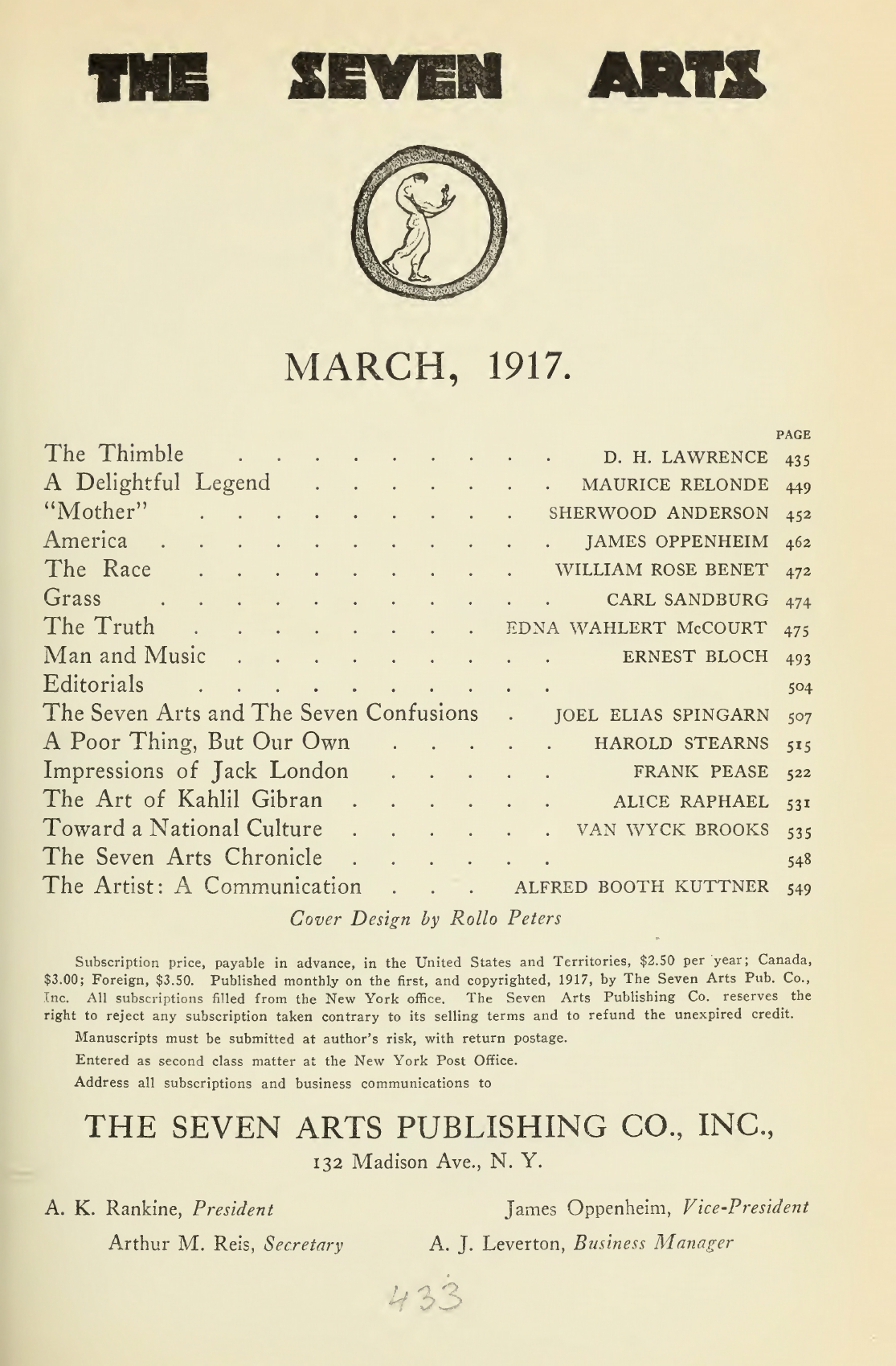 Alice Raphael, The Art of Kahlil Gibran, The Seven Arts, March, 1917