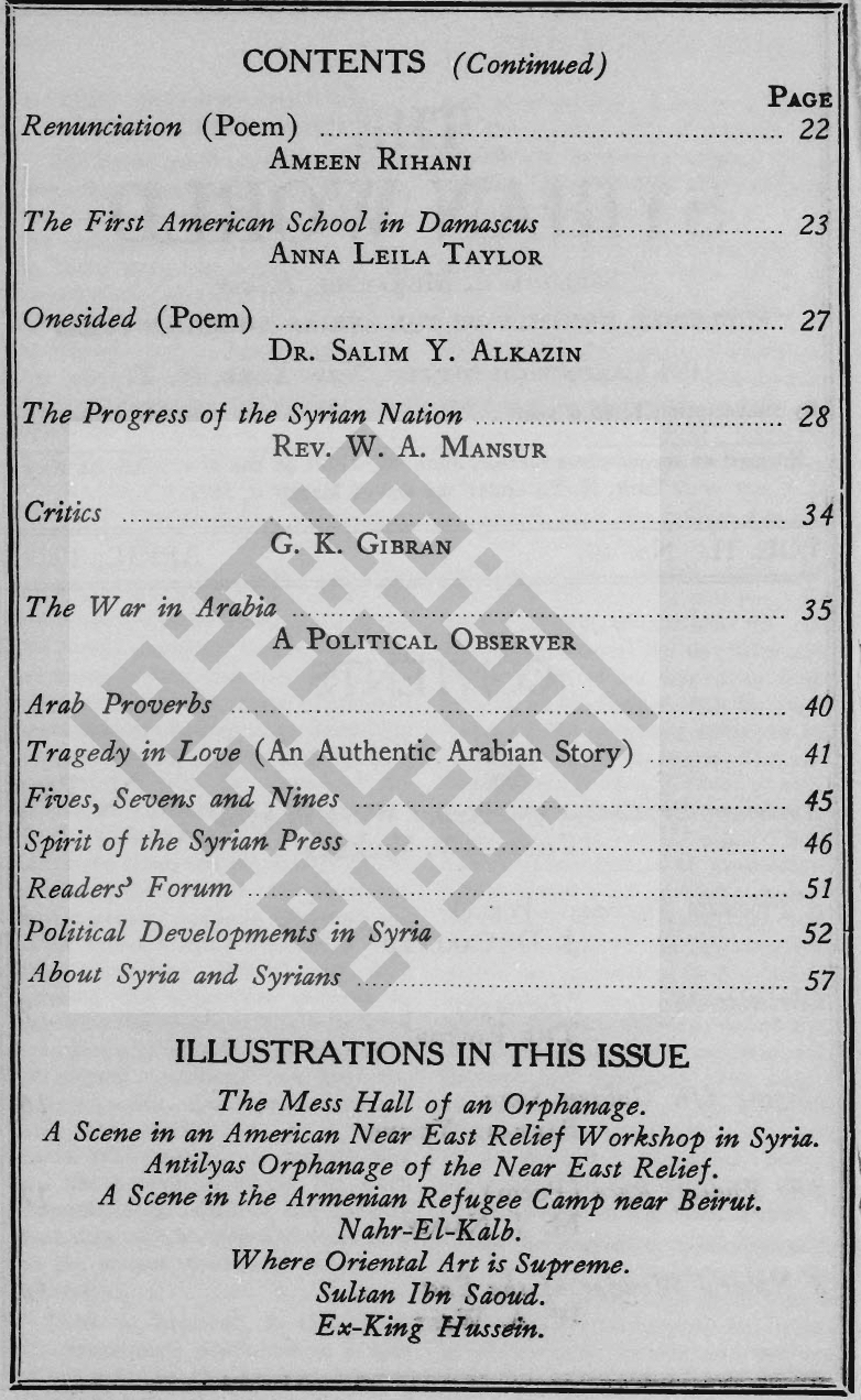 Critics, The Syrian World, 2, 10, April 1928, p. 34