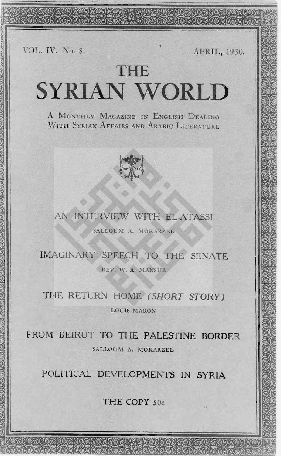 Helpfulness, The Syrian World, 4, 8, April 1930