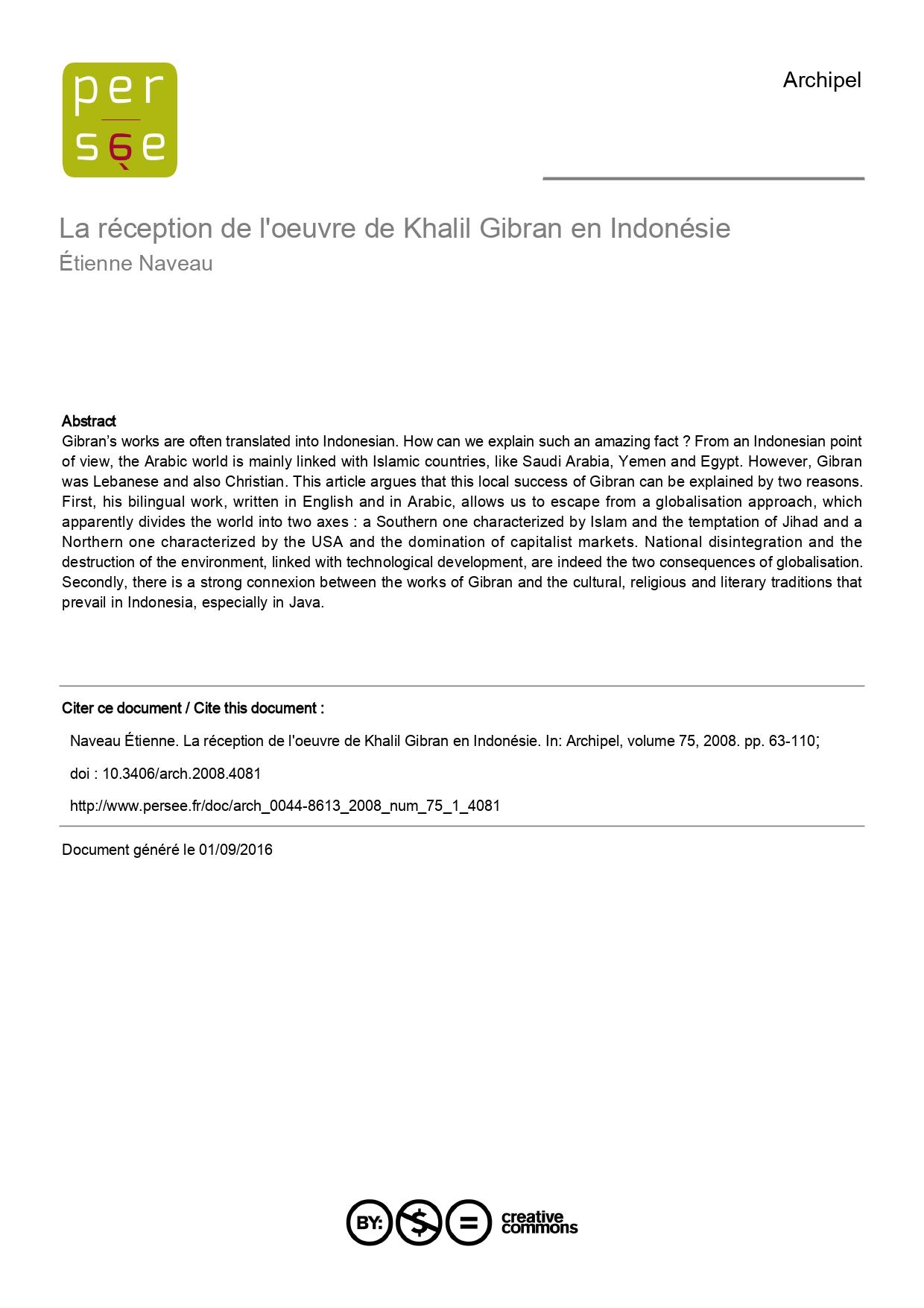 """Étienne Naveau, """"La réception de l'œuvre de Khalil Gibran en Indonésie"""", Archipel 75, Paris, 2008, pp. 63-110."""
