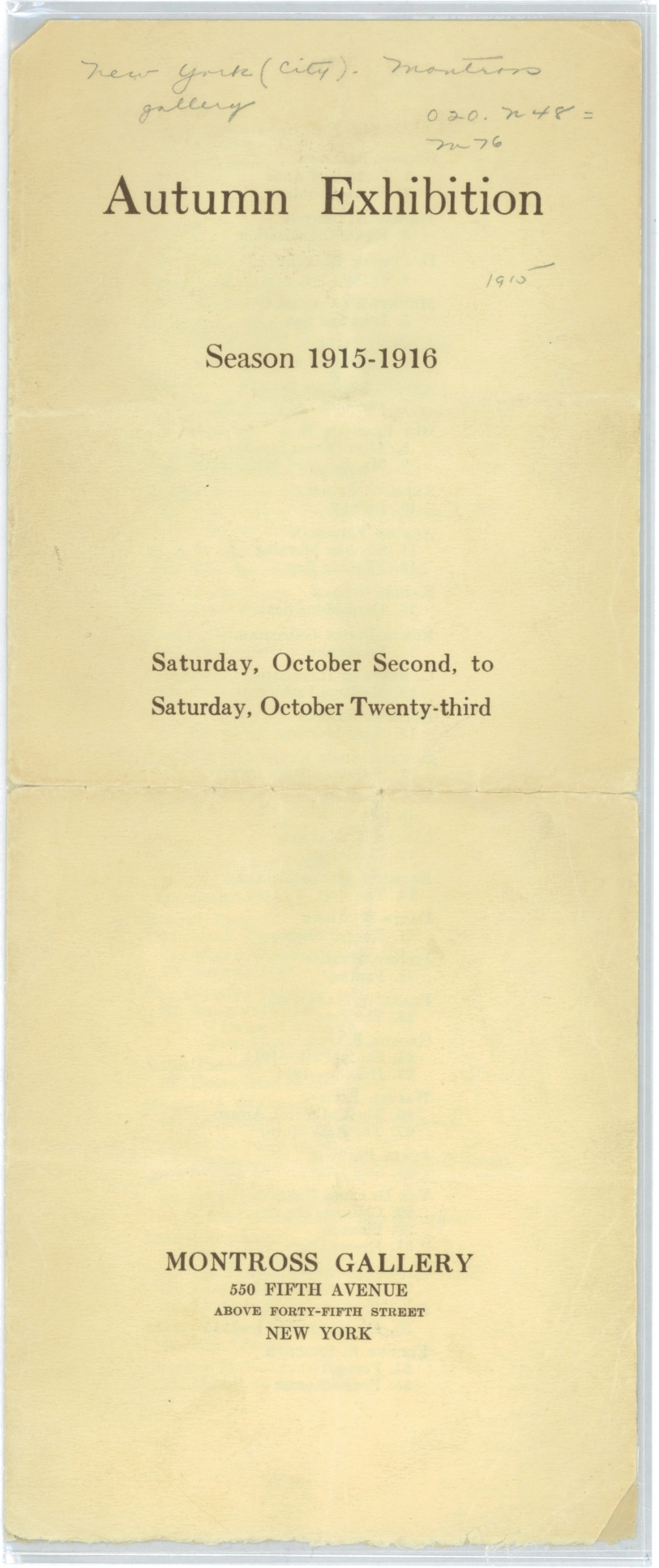 Autumn Exhibition [Catalogue], Season 1915-1916, New York: Montross Gallery, October 2-23, 1915.
