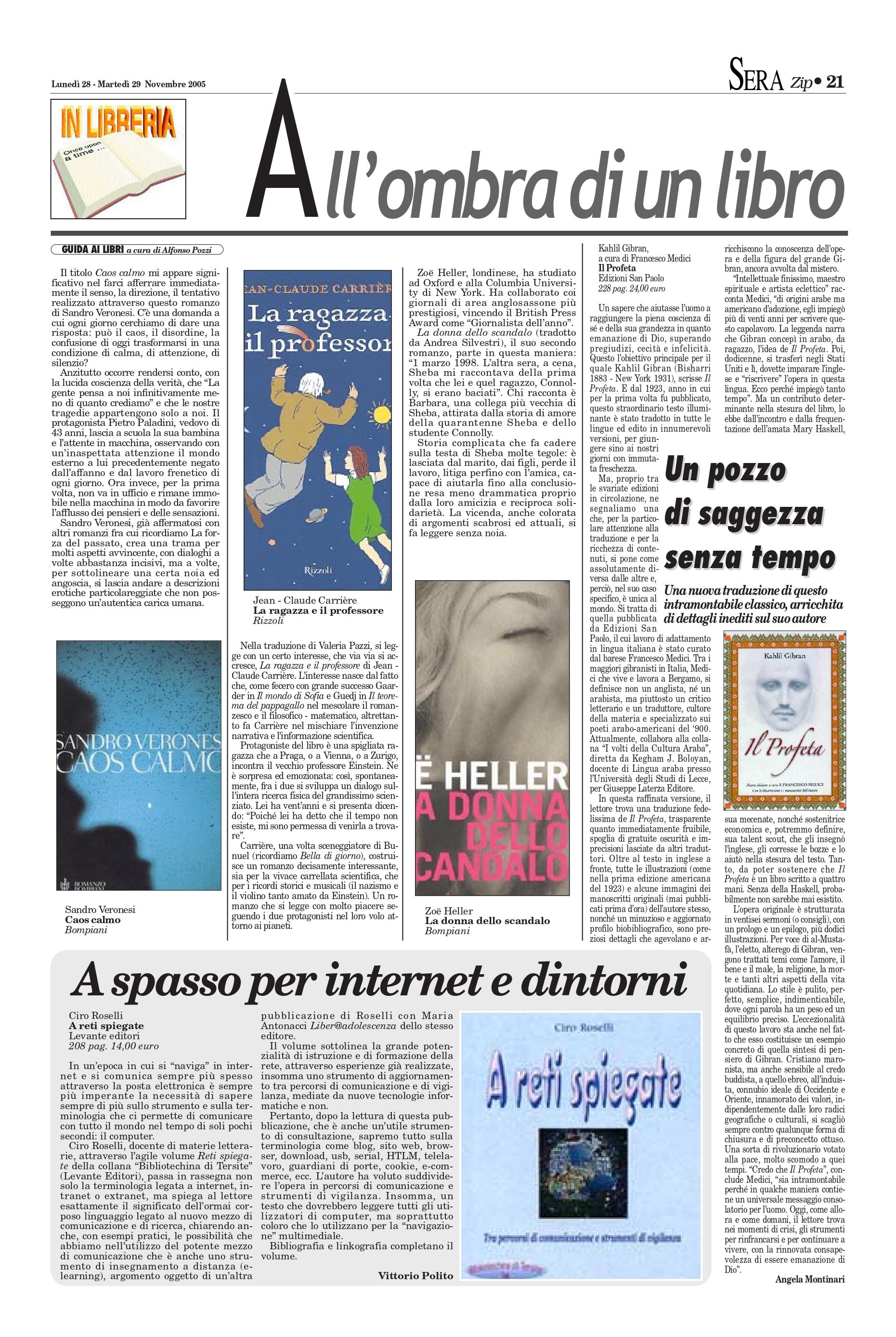 """Angela Montinari, """"Un pozzo di saggezza senza tempo"""", BariSera, Nov 28-29, 2005, p. 21 (review)"""