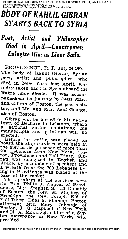 Body of Kahlil Gibran Starts Back to Syria, New York Times, Jul 25, 1931