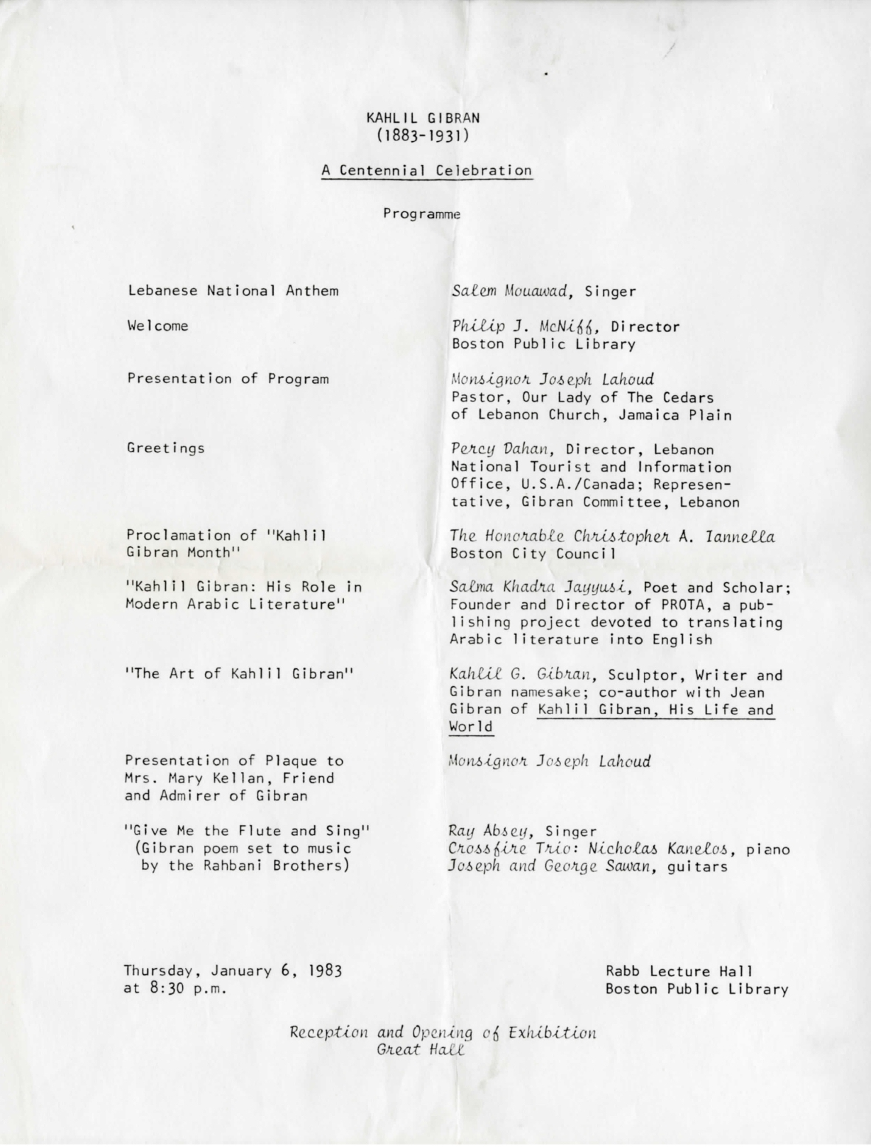 A Centennial Celebration program outline for Kahlil Gibran, Rabb Lecture Hall, Boston Public Library, January 6, 1983.