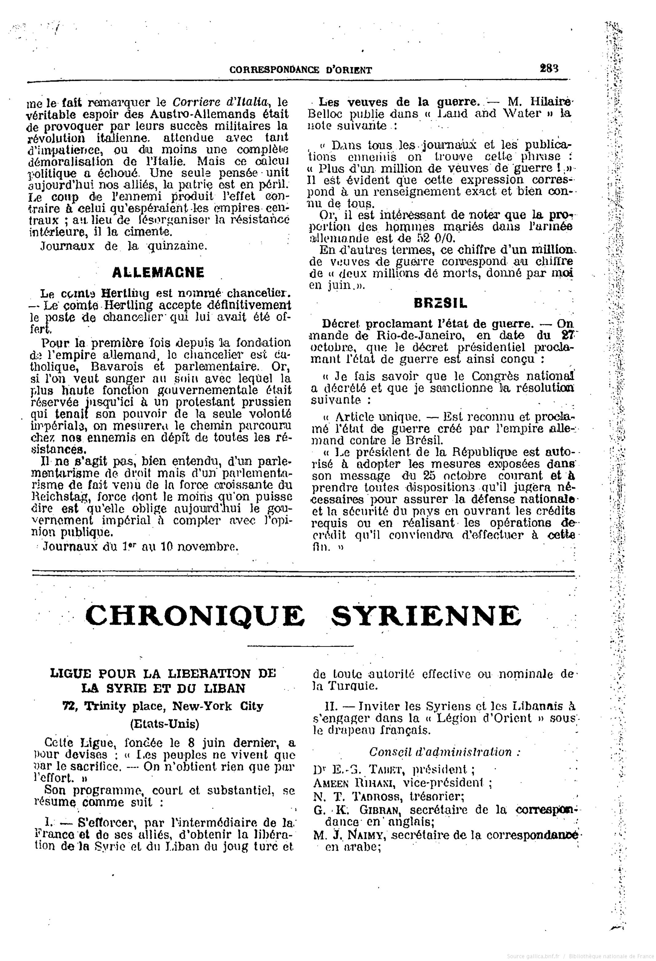 """Ligue pour la liberation de la Syrie et du Liban (Chronique Syrienne), """"Correspondance d'Orient"""", 11-10-1917"""
