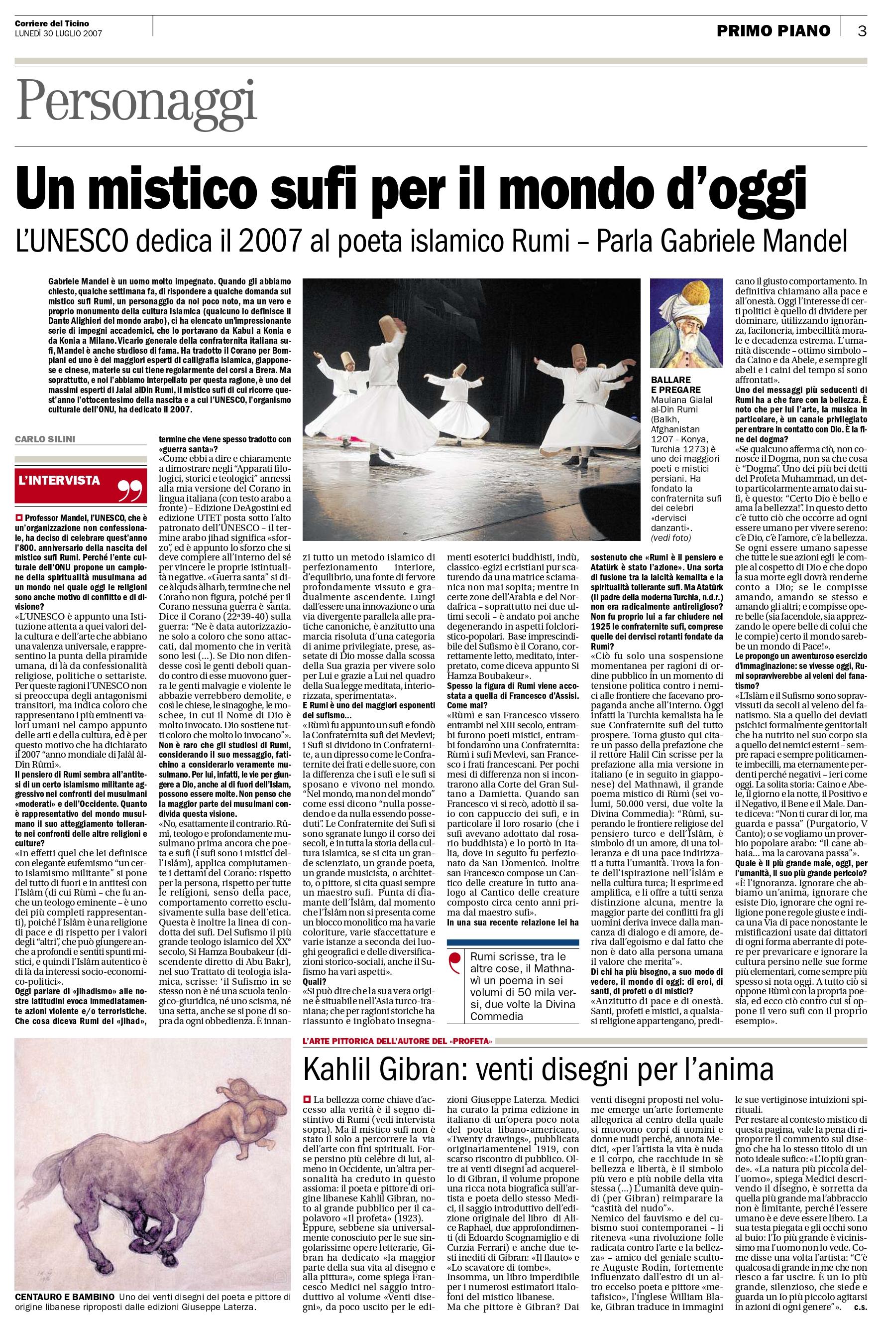 """Carlo Silini, """"Kahlil Gibran: venti disegni per l'anima"""", Corriere del Ticino, Jul 30, 2007, p. 3 (review)"""