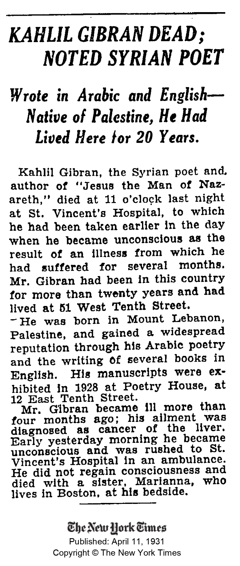 Kahlil Gibran Dead; Noted Syrian Poet, The New York Times, Apr 1, 1931