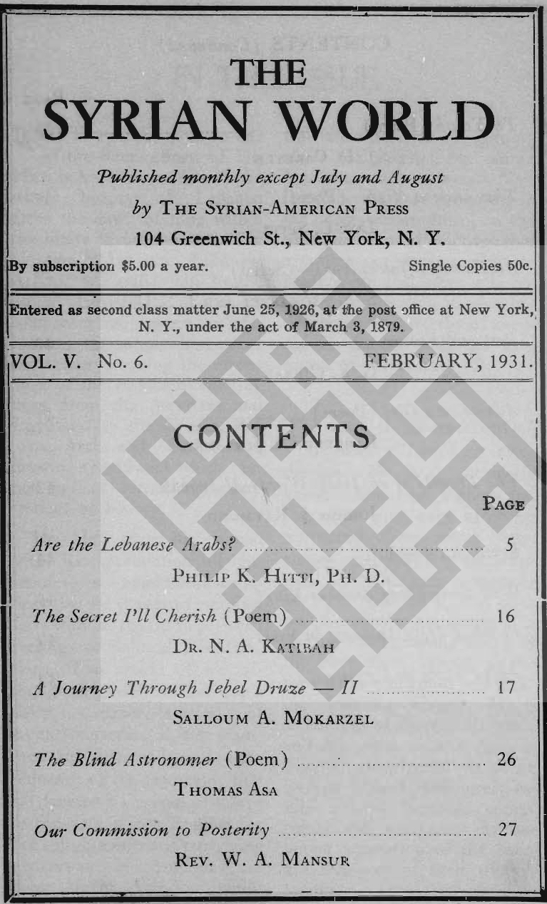 Past and Future, The Syrian World, 5, 6, February 1931