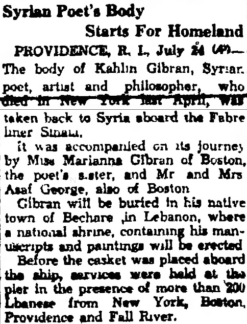 """Syrian Poet's Body Starts For Homeland"", Fitchburg Sentinel (Fitchburg, Worcester, Massachusetts), 24 Jul 1931, p. 11."