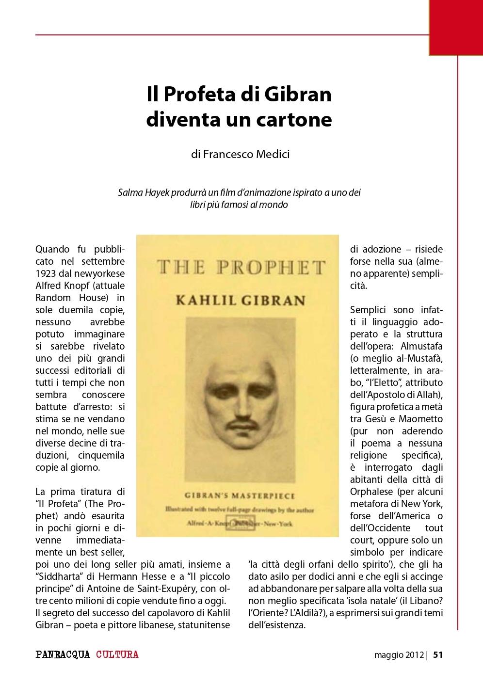 "Francesco Medici, ""Il Profeta"" di Gibran diventa un cartone, «Paneacqua», May 2012"
