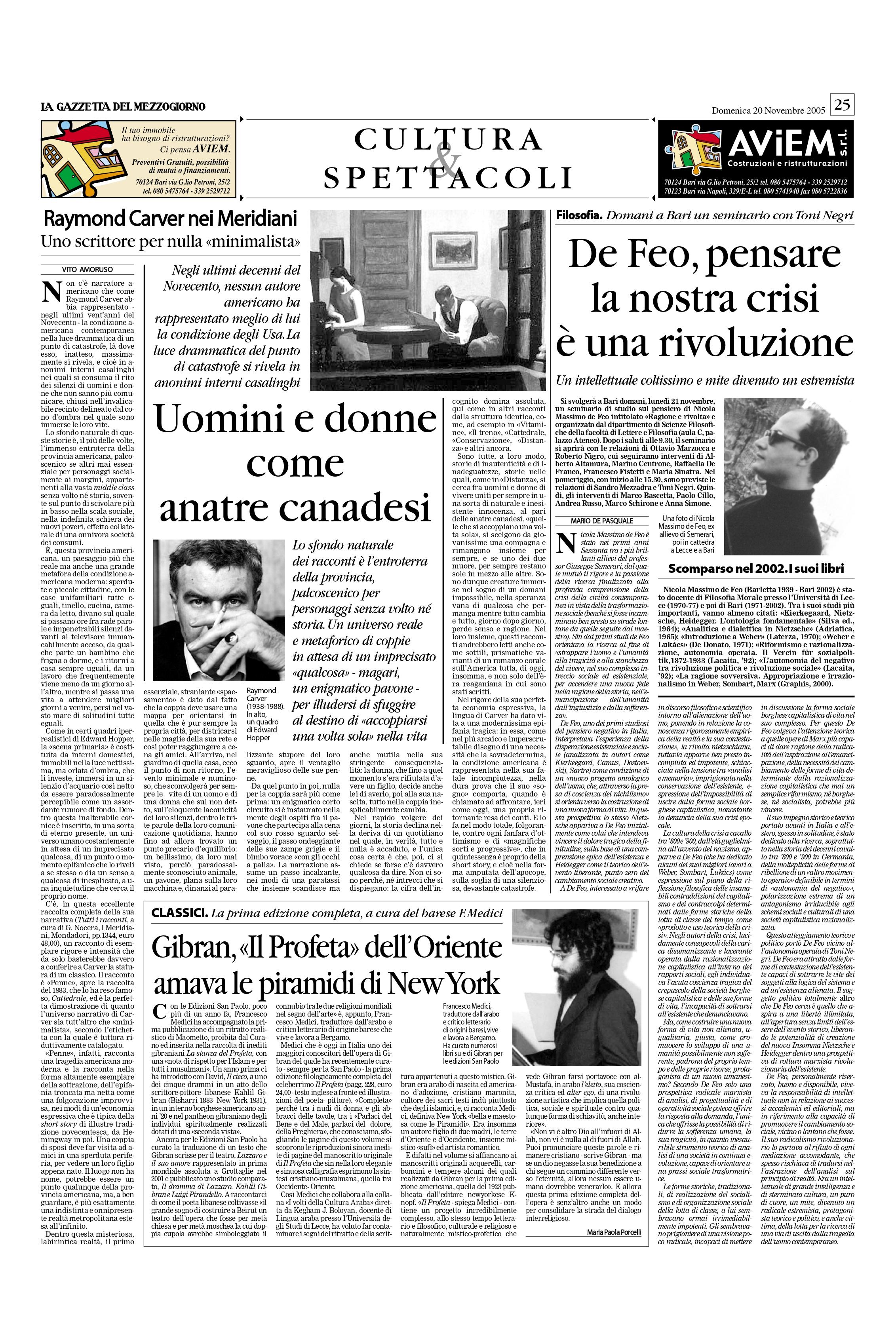 """Maria Paola Porcelli, """"Gibran, «Il Profeta» dell'Oriente amava le piramidi di New York"""", La Gazzetta del Mezzogiorno, Nov 20, 2005, p. 25 (review)"""