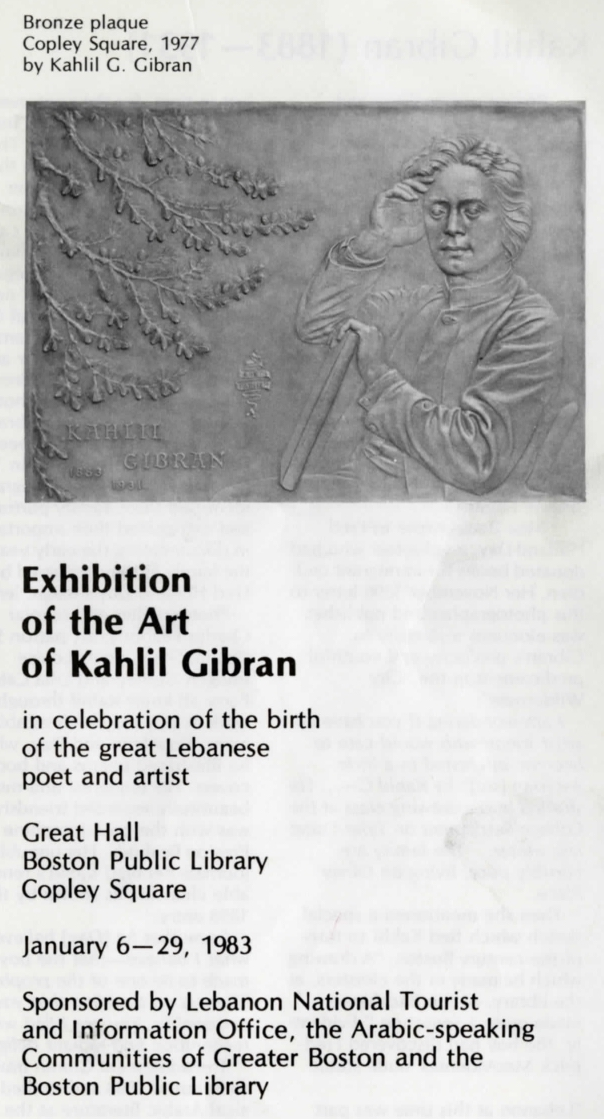 The Art of Kahlil Gibran [Exhibition Guide], Boston Public Library, January 6-29, 1983.
