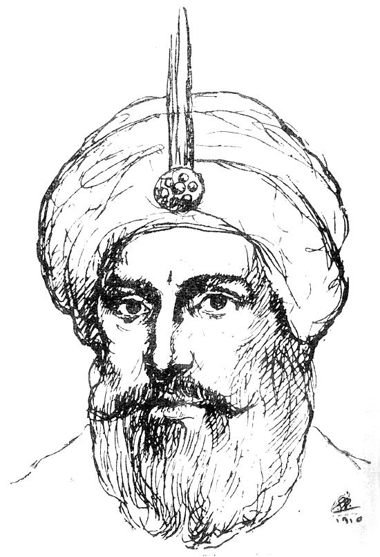 al-Husayn al-Awwal, Malik al-Hijaz [Drawing], Harun al-Rashid, A`zam Muluk al-`Arab [Drawing], al-Funun 3, no. 7 (July 1918)