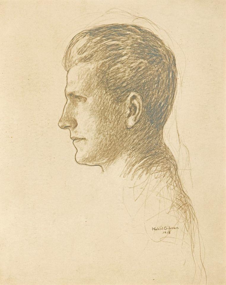 "Modern American Writers [Gibran's Portrait of Howard W. Cook, 1918], ""The Sun"", Sunday, December 22, 1918, p. 5."