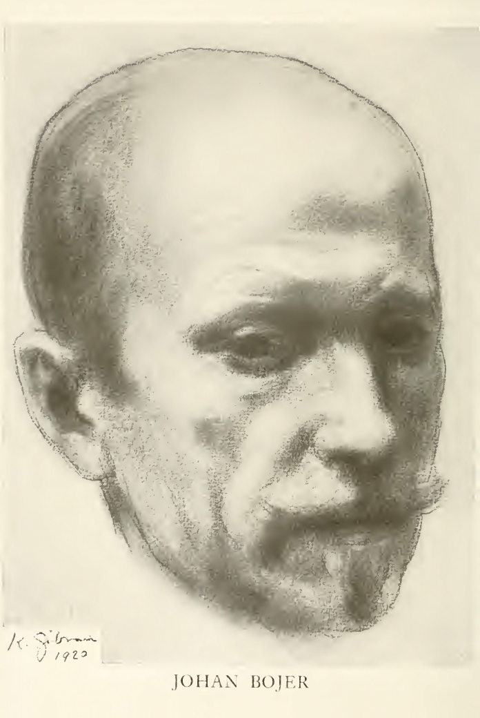 Carl Gad, Johan Bojer: The Man and His Works, Frontispiece Portrait of Johan Bojer by Kahlil Gibran, New York: Moffatt, Yard and Company, 1920.