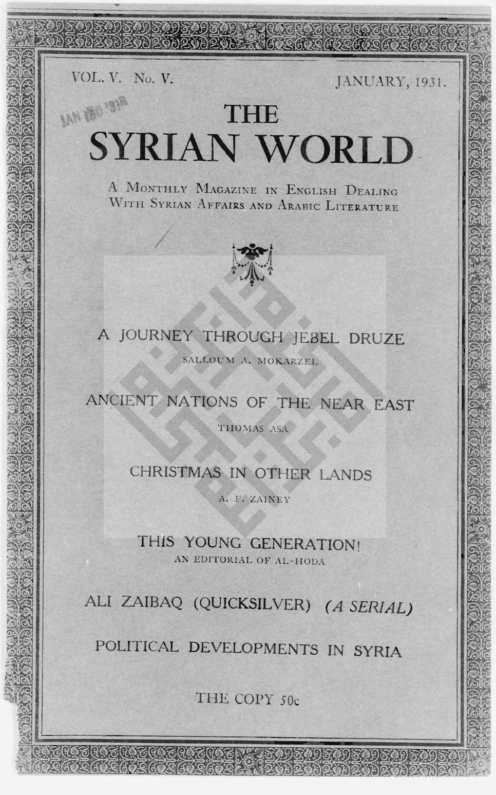 A Marvel and a Riddle, The Syrian World, 5, 5, January 1931