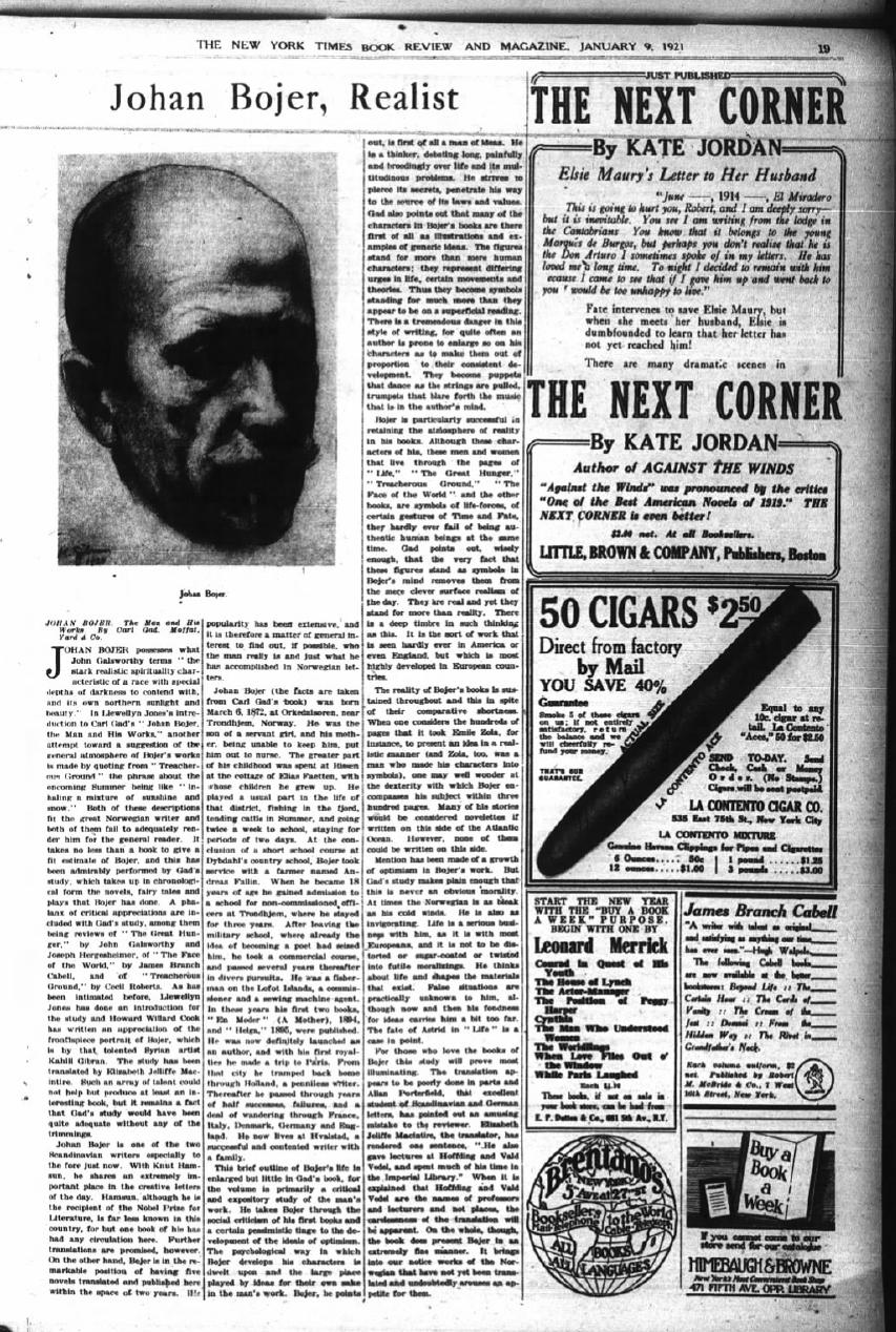 """Johan Bojer, Realist [Gibran's Portrait of Joan Bojer], """"The New York Times"""" (New York, New York), Sun, Jan 9, 1921"""