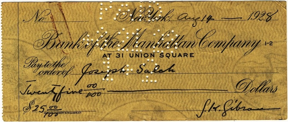 Gibran Kahlil Gibran, 25 Dollar Check, Bank of the Manhattan Company, New York, 14 August 1928