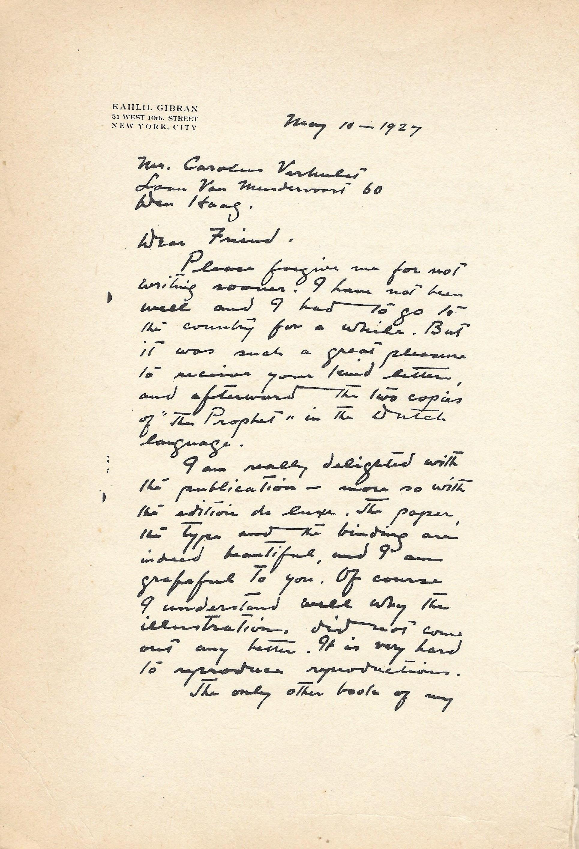 Letter of Kahlil Gibran to Carolus Verhulst, 10 May 1927