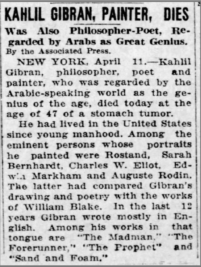 "Kahlil Gibran, Painter, Dies, ""St. Louis Post-Dispatch"" (St. Louis, Missouri), Sat, Apr 11, 1931"