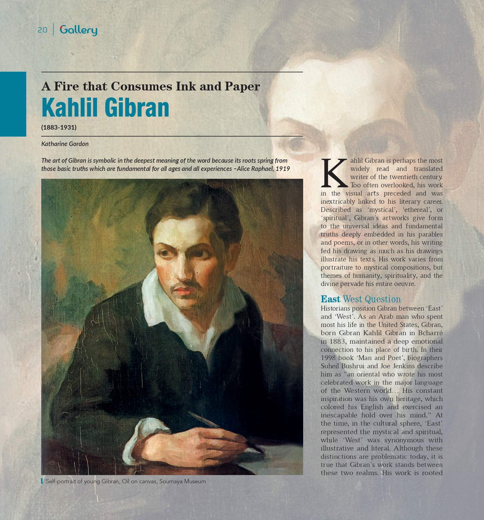 Katharine Gordon, Kahlil Gibran: A Fire that Consumes Ink and Paper, «Gallery», Issue 06, Winter 2020, pp. 20-35.