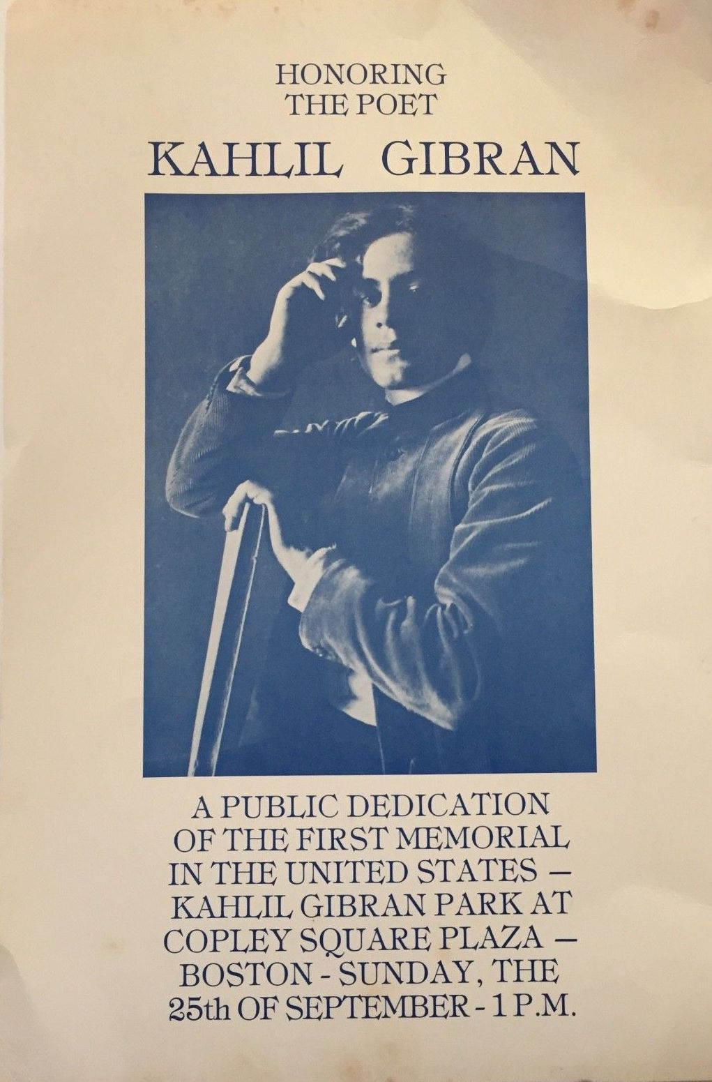 Kahlil Gibran: Memorial, Copley Square, Boston, Sept. 25, 1977 (Poster)