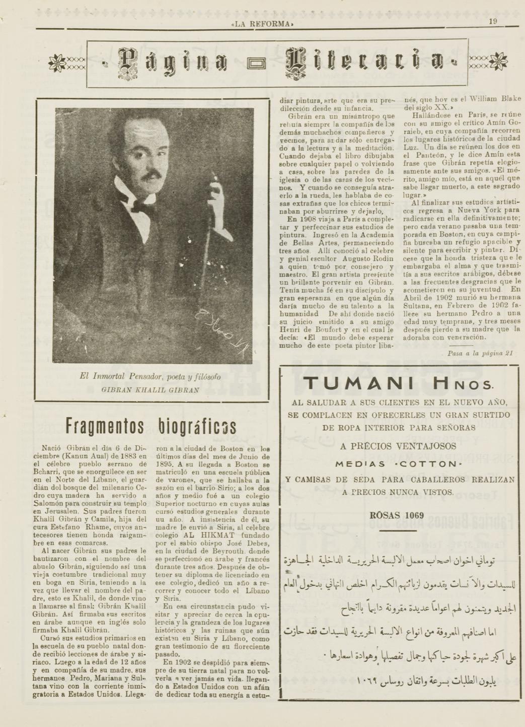 """""""Gibran Khalil Gibran: Fragmentos Biográficos"""", La Reforma, Jan 1, 1938, p. 15."""