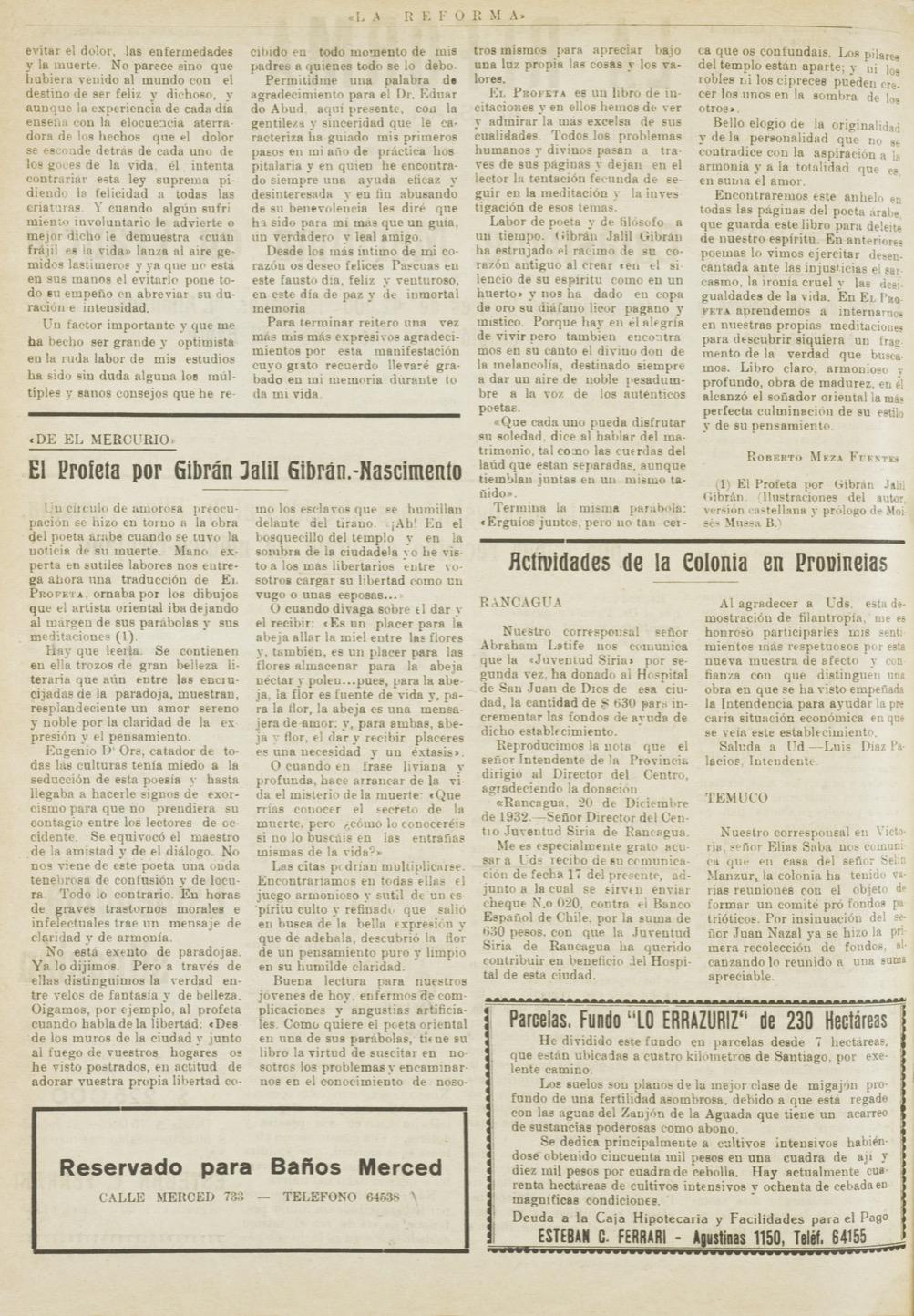 """Roberto Meza Fuentes, """"El Profeta por Gibran Jalil Gibran"""", La Reforma, Jan 7, 1933, p. 2."""