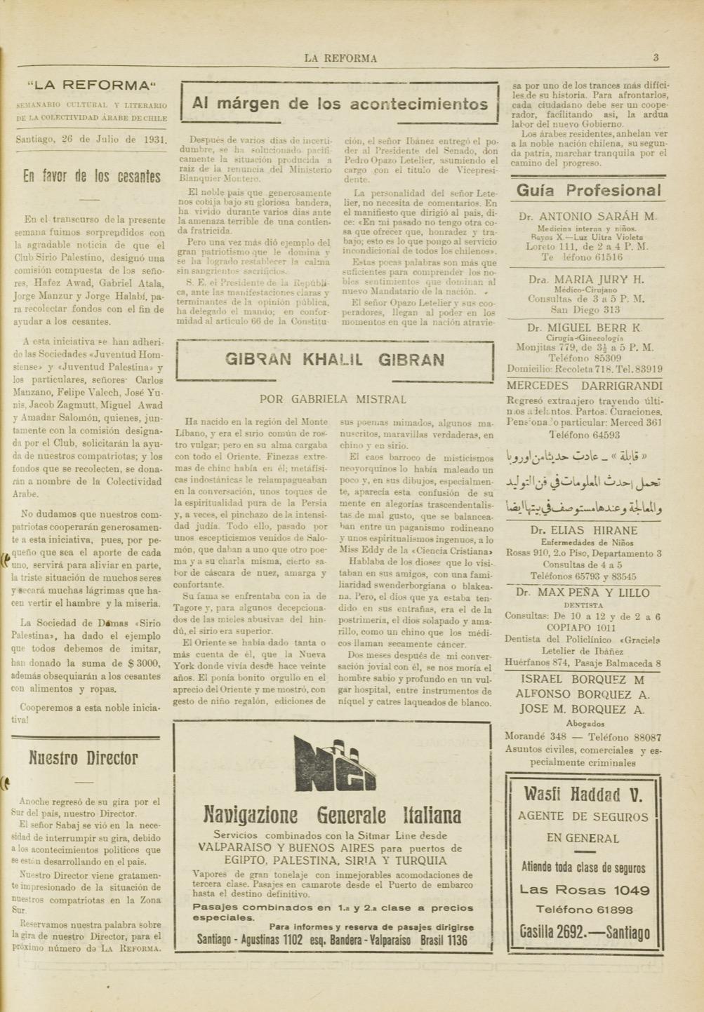 "Gabriela Mistral, ""Gibran Kahalil Gibran"", La Reforma, Jul 26, 1931, p. 3."