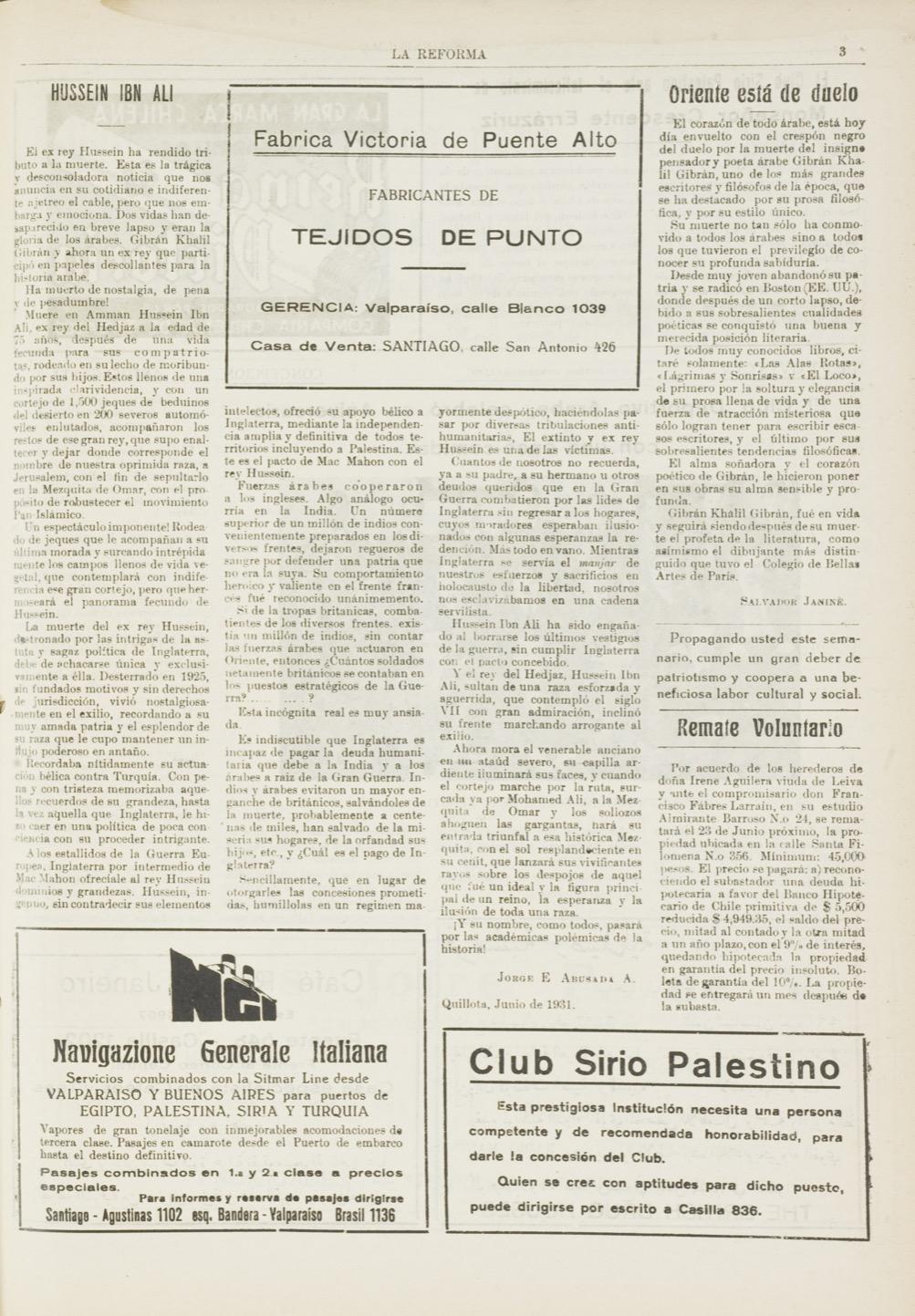 """Salvador Janiné, """"Oriente está de duelo"""", La Reforma, Jun 13, 1931, p. 3."""