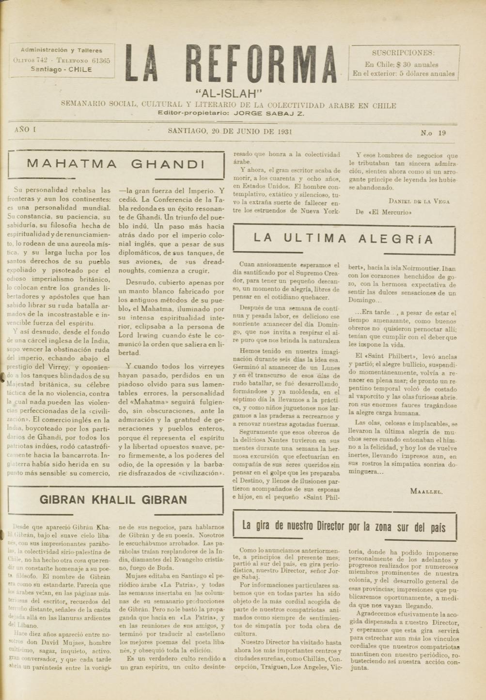 """I.H.A., """"Gibran Khalil Gibran"""", La Reforma, Jun 20, 1931, pp. 1,3."""