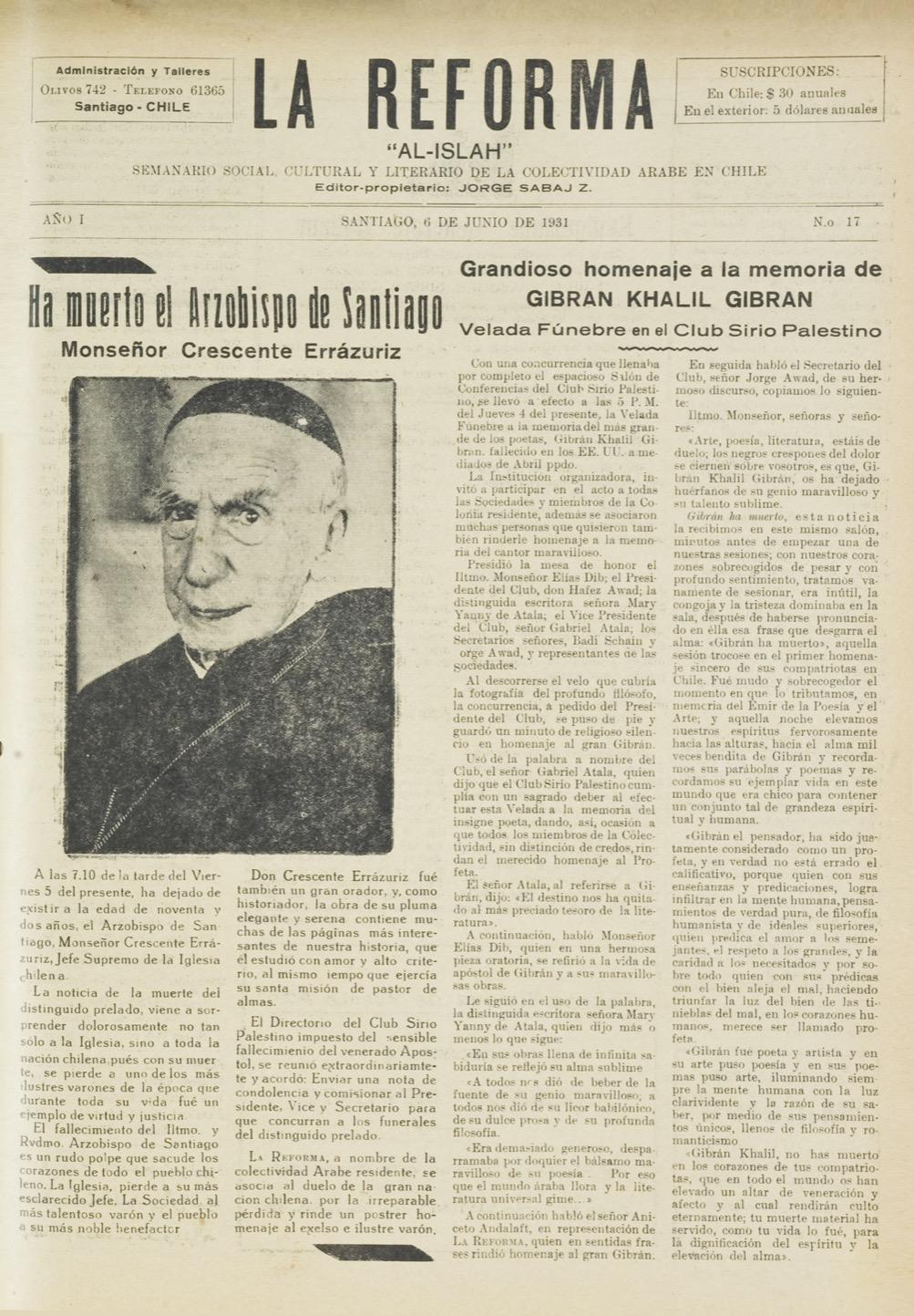"""""""Grandioso homenaje a la memoria de Gibran Khalil Gibran"""",La Reforma, Jun 6, 1931, p. 1."""