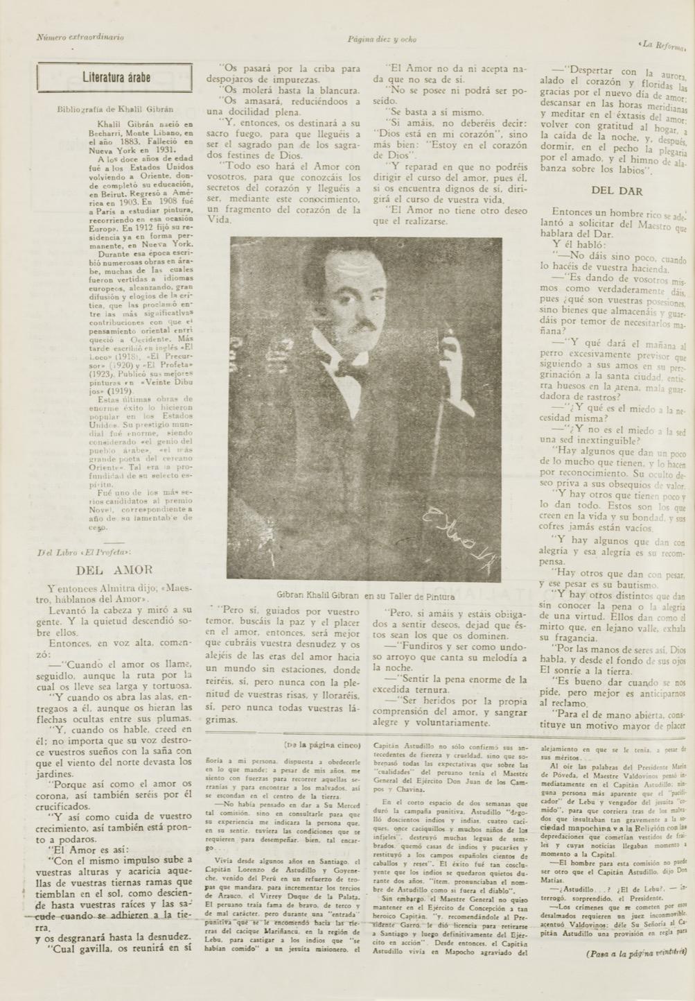"""""""Literatura árabe: Gibrán Khalil Gibrán"""", La Reforma, Sept 18, 1933 pp. 18-19,22."""