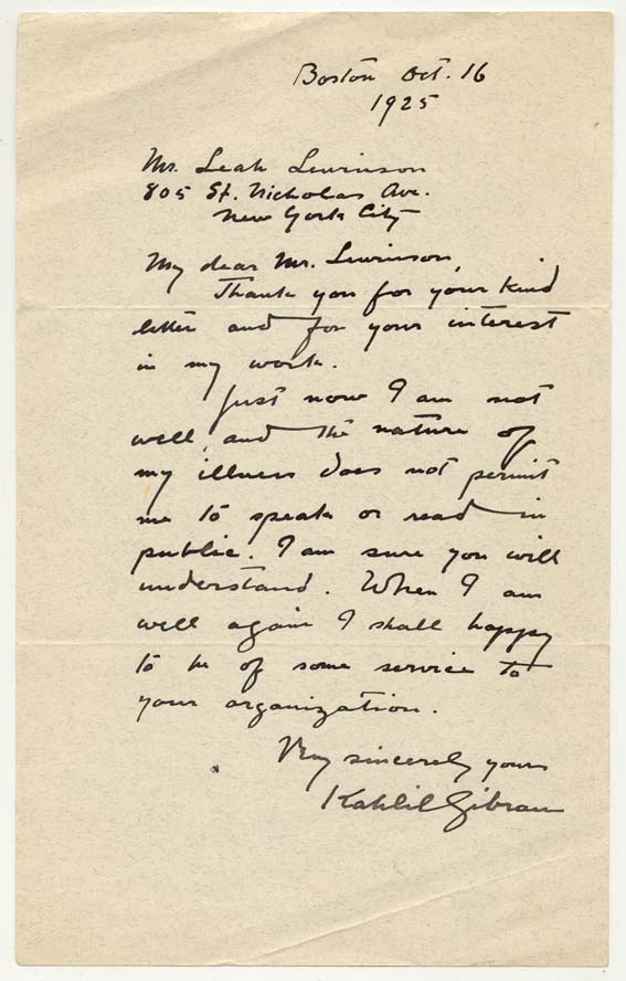 Letter of Kahlil Gibran to Leah Lewinson, Boston, Oct. 16, 1925