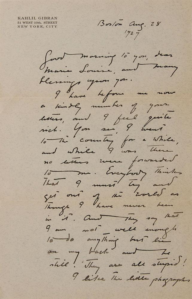 Letter of Kahlil Gibran to Marie Louise (Boston Aug. 28 1927)