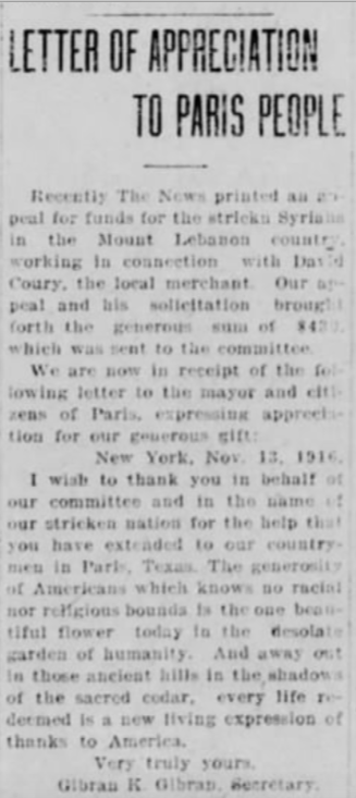 "[Gibran's] Letter of appreciation to Paris People, ""The Paris Morning News"" (Paris, Texas), Sat, Nov 18, 1916"